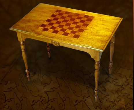 Custom Made Cherckers Top Puzzle Table