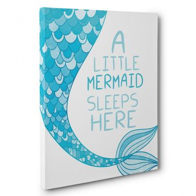 Custom Made Little Mermaid Sleeps Here Canvas Wall Art