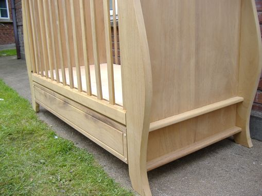Custom Made Sleigh Style Teak Crib