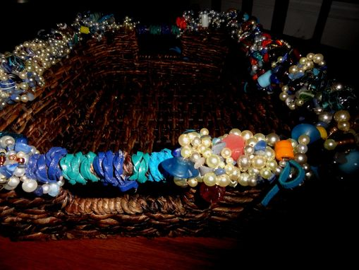 Custom Made Beaded Wicker Tray Basket With Leather Handles