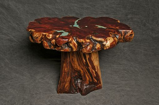 Custom Made Cedar Burl End Table With Turquoise Inlay