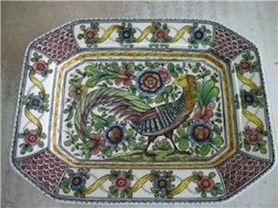 Custom Made Hand Painted Pheasant Platter In Ultra Special Decoration