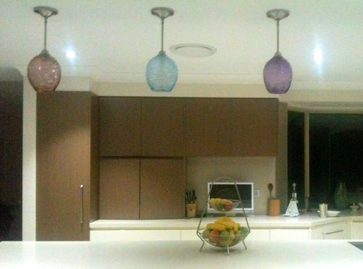 Custom Made Spun Glass Hand Blown Pendant Light