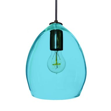 Custom Made Hand Blown Aqua Blue Glass Pendant Light