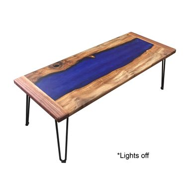 Custom Made Walnut, Resin, And Led Coffee Table That Charges Your Phone!