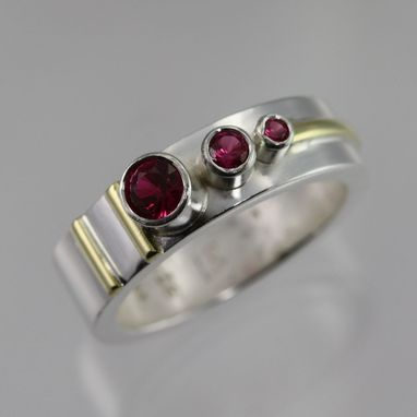 Custom Made 3 Stone Sequence Ring 14k (Ruby)