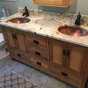 Custom Arts & Crafts Double Sink Vanity by Bungalow White Oak ...