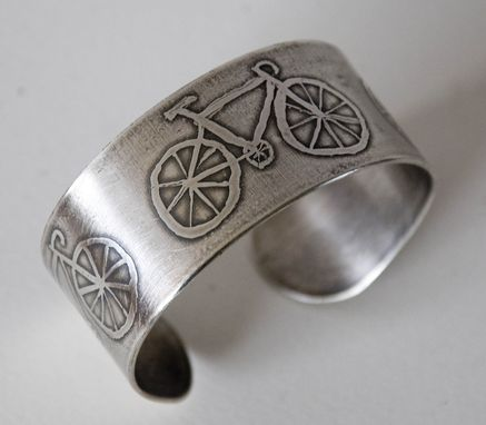 Custom Made Etched Sterling Silver Bike Cuff Bracelet
