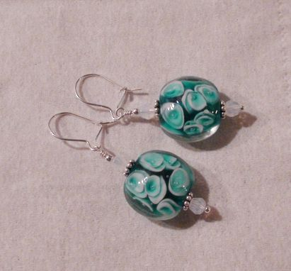 Custom Made Aqua And White Lampworked Glass Earrings In Sterling Silver With Swarovski Crystals