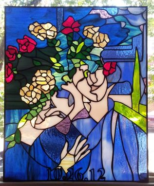 "Custom Made Stained Glass Hanging Panel - "" Marc Chagall Painting"" (P-41)"