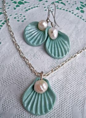 Custom Made Seashells & Freshwater Pearl Earrings And Necklace Set - Beautifully Packaged