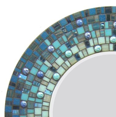 Custom Made Round Mosaic Wall Mirror - Blue