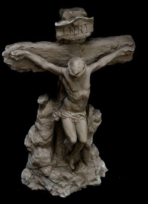 Hand Crafted Crucifixion Sculpture 8 Inch Tall Crucifix