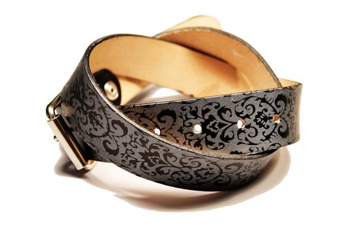Custom Made Damask Print Leather Belt