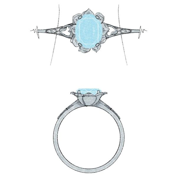 Our design for a flower engagement ring with heart-infinity details.