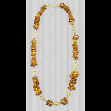 Custom Made Amber & Rose Bead Necklace