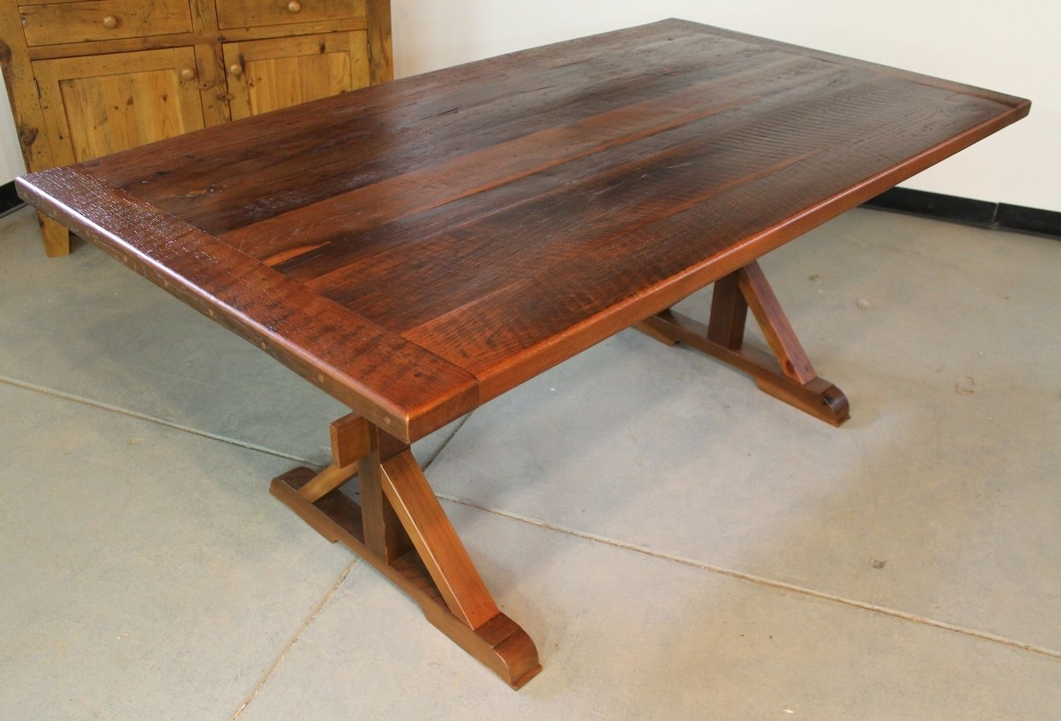 Hand crafted rustic farm table with x base by for What is a farmhouse table