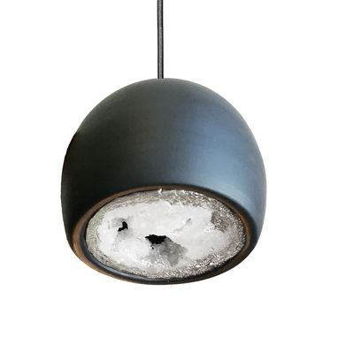 Custom Made Led Geode Leafed Gem & Porcelain Mini Matte Black Clay Pendant Light