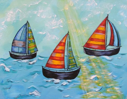 Custom Made Sail Boats, Child Or Nursery Art / Kids Wall Art Painting (Not A Print)