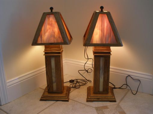 Custom Made Chestnut Stained Glass Lamps