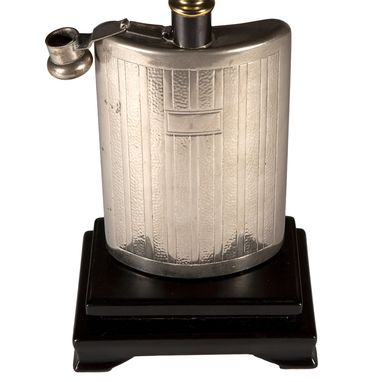 Custom Made Vintage Silver Metal Flask Lamp