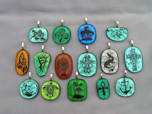 Custom Made Laser Etched Dichroic Fused Glass Pendants