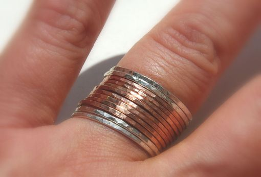 Custom Made 14k Rose | Pink Gold Filled And Sterling Silver Hammered Stackable Rings, Mixed Metals