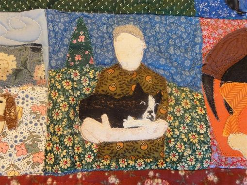 Custom Made Beloved Buddy Memory Quilt- Large Custom Pet Memorial Portrait