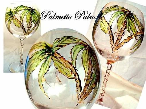 Custom Made Palmetto Palm Design Wine Goblets