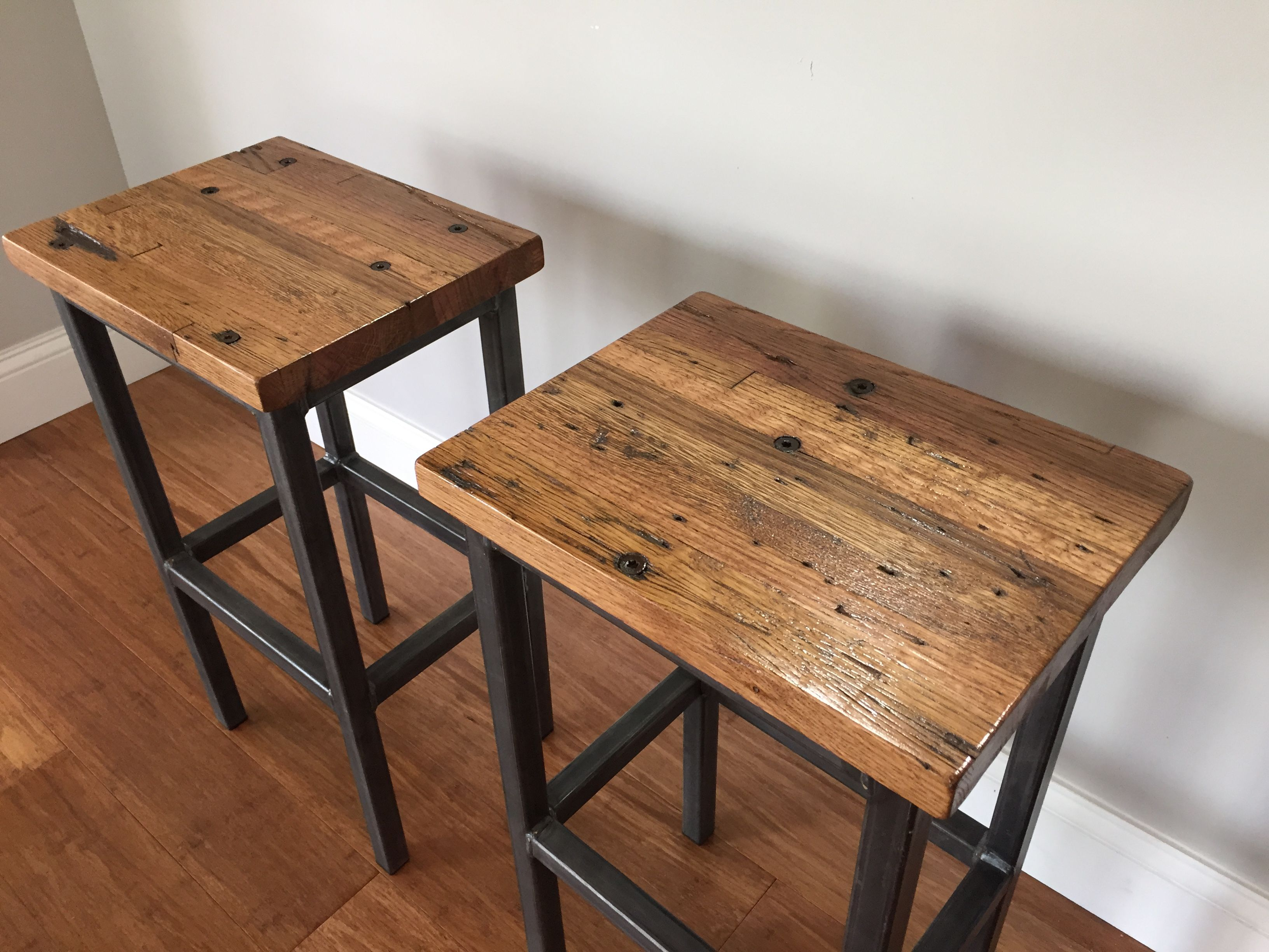 custom made reclaimed oak wood bar stools wsteel frames handmade in denver