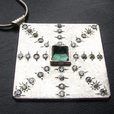 Custom Made New Starburst Pendant In Sterling Silver With Green Tourmaline And Cz