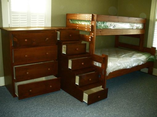 Hand Crafted Twin Over Queen Bunk Bed Suite With Staircase ...