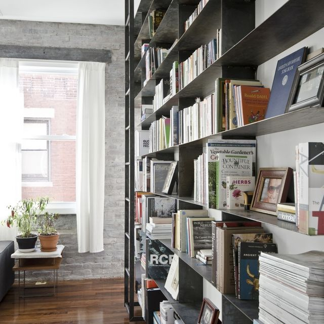 Handmade Minimal Blackened Steel Bookshelves With Rolling Library Ladder By Mato Custommade