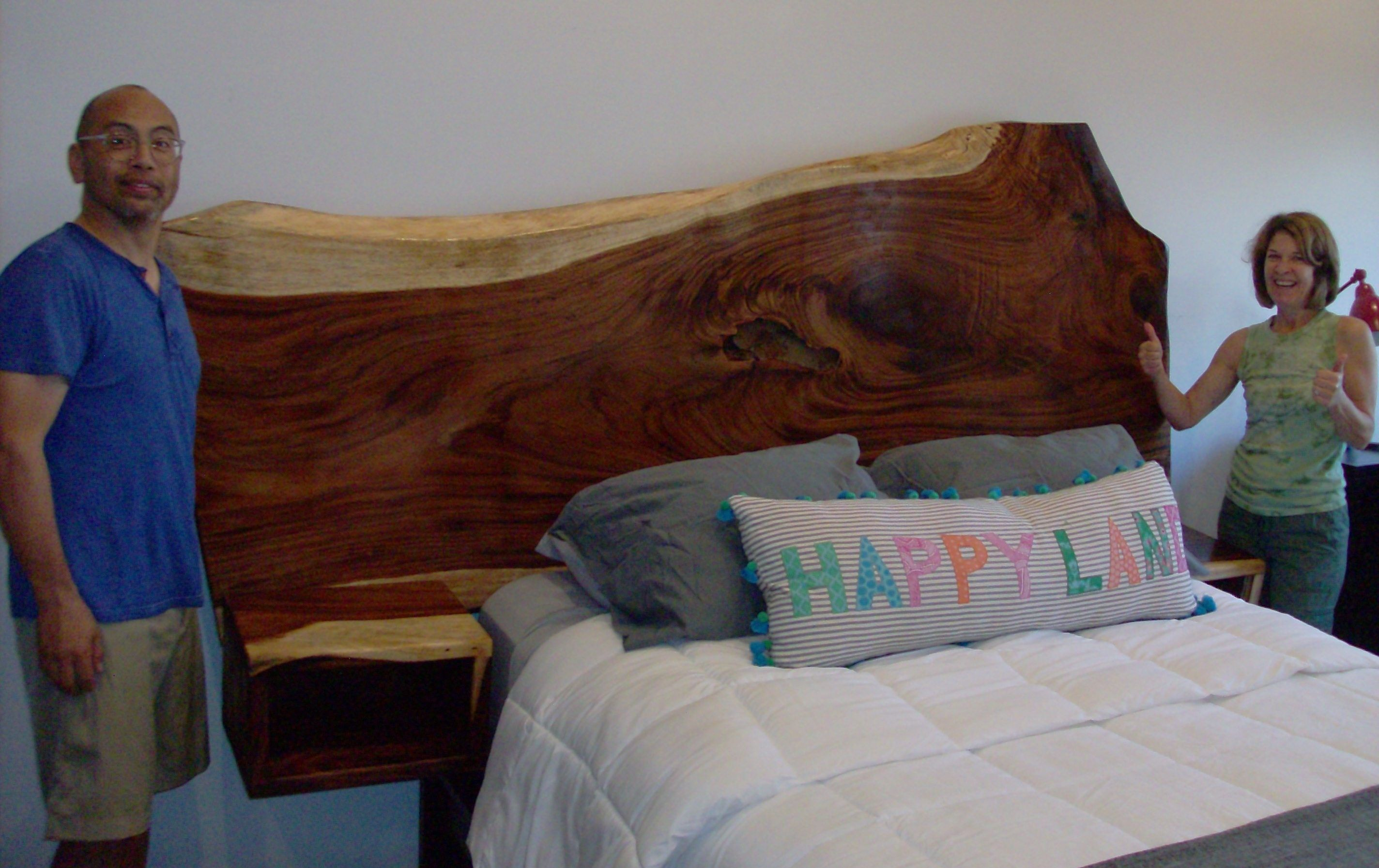 Handmade Headboard With Floating Nightstands By Thunder