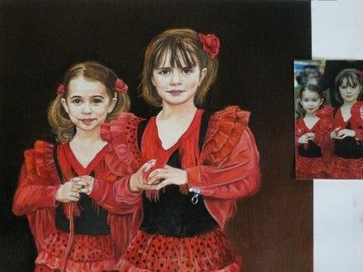 Custom Made Amazing Hand Painting Of Daughters