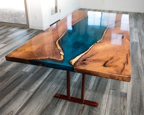 Custom Made Mesquite Resin River Dining Table