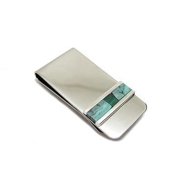 Custom Made Turquoise Inlay Money Clip - Southwest Aesthetic Style Money Clip - Malachite Inlay