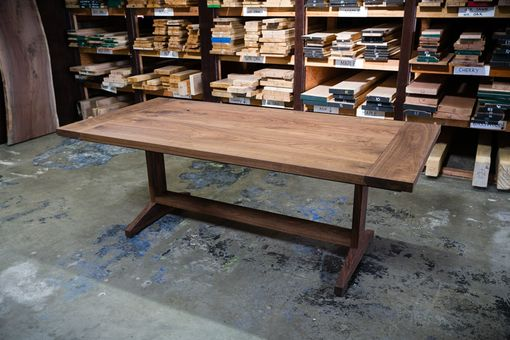 Custom Made Trestle Dining Table With Leaf Inserts