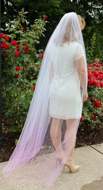 Custom Made Chapel Length Pink Ombre Veil With Swarovski Crystals