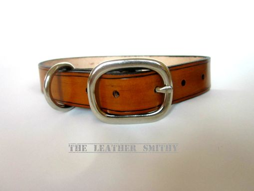 Custom Made Tan Leather Dog Collar 1 Inch Wide With Nickel Center Bar Buckle
