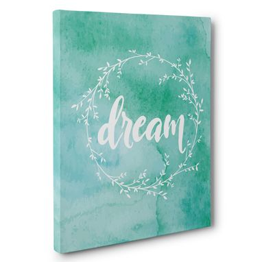 Custom Made Dream Watercolor Wreath Canvas Wall Art