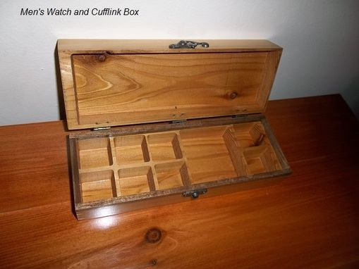 Custom Made Men's Carved Watch And Cufflink Box