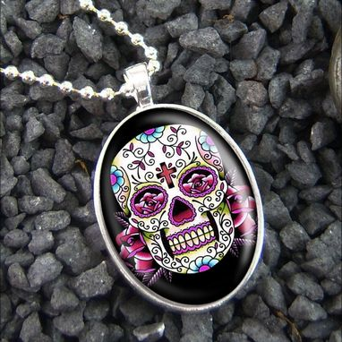 Custom Made Dia De Los Muertos Pink Skull Sterling Silver Necklace 58-Son