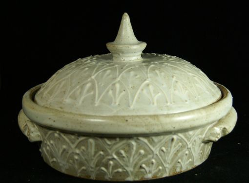 Custom Made White Lidded Casserole With Elaborate Design