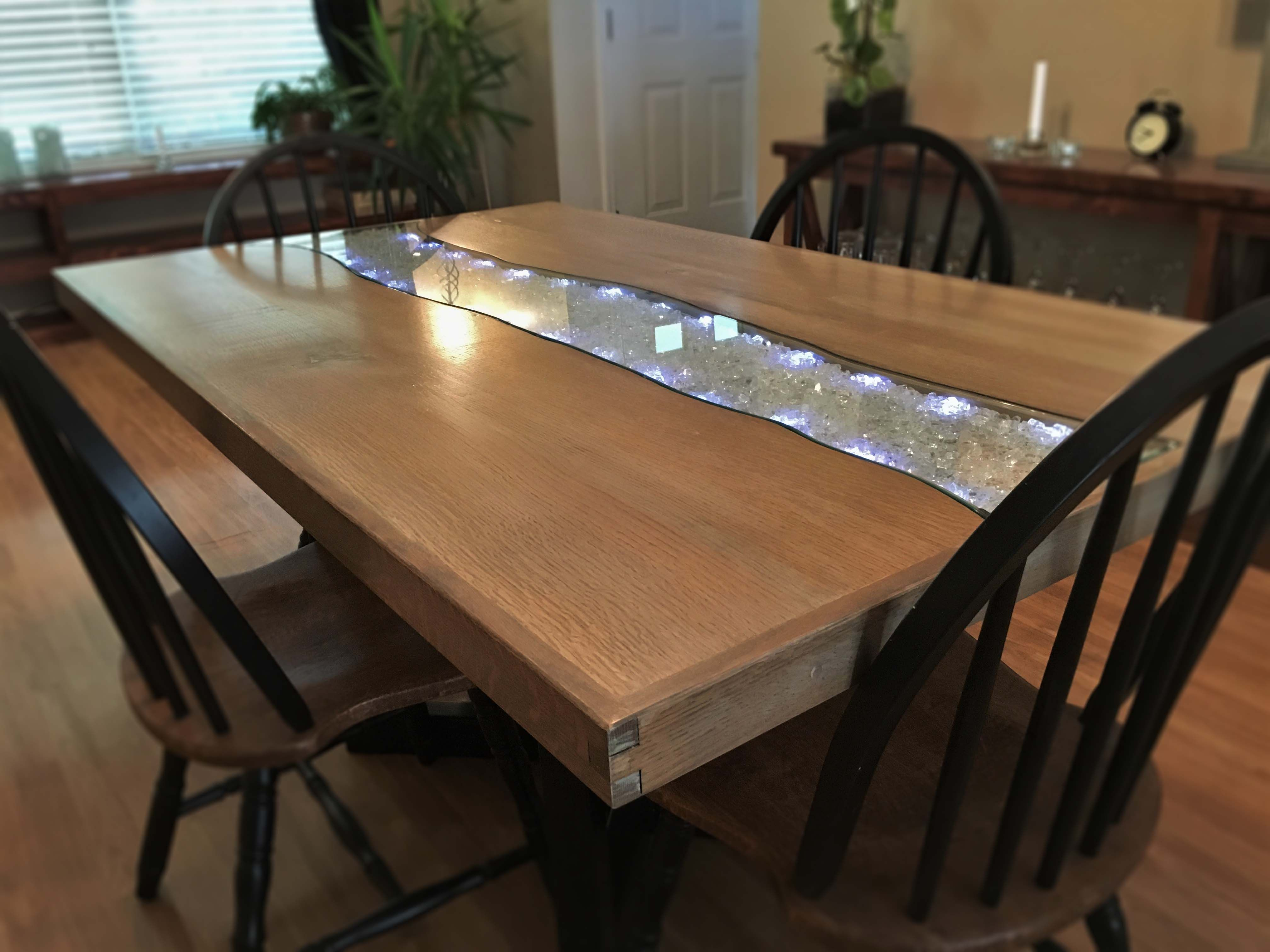 Hand Made Starlight Glowing River Dining Table