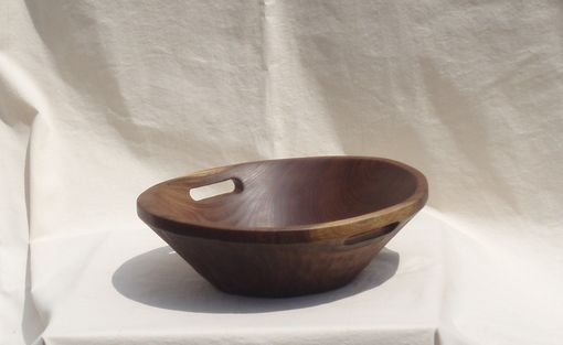 Custom Made Walnut Serving Or Salad Bowl With Handles