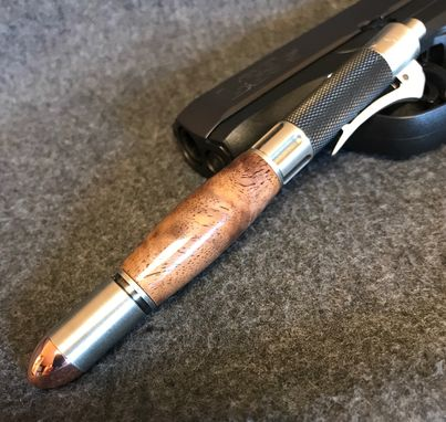 Custom Made Burled Highly Figured Walnut Wood Hand Turned Revolver Ink Pen With Brushed Silver Accents