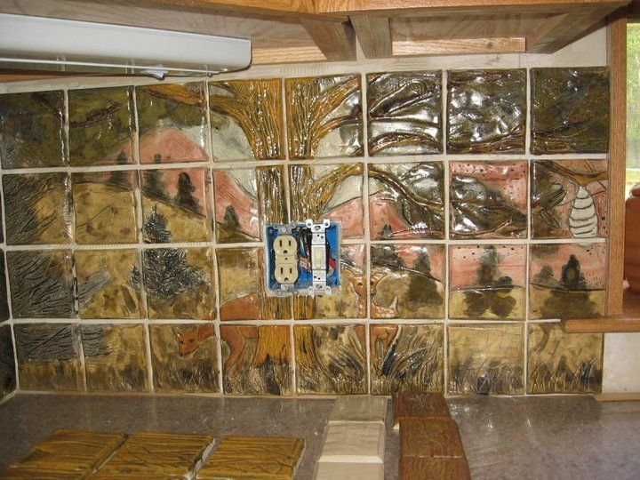 Hand crafted custom wildlife ceramic tile kitchen backsplash by zamora tile creations - Custom kitchen backsplash tiles ...