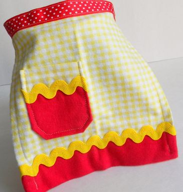 "Custom Made Red, Yellow, And White Checkered Doll Apron ""Strawberry Shortcake''"