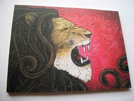 Custom Made Iron Lion 5x7 Custom Wood Jigsaw Puzzle